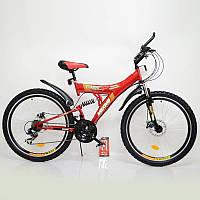Велосипед SIGMA MAXIMA T26-726A-DBF red стильный спортивный двухподвесной подростковый, фото 1