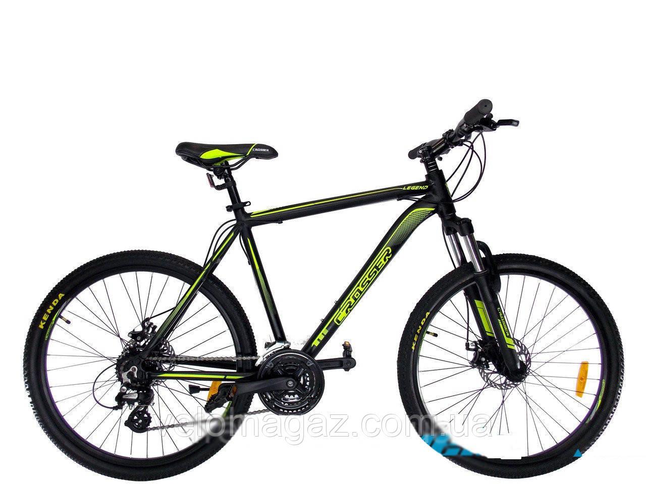 """Велосипед горный Crosser Legend-1*20 26"""" черно-салатовый алюминиевый"""