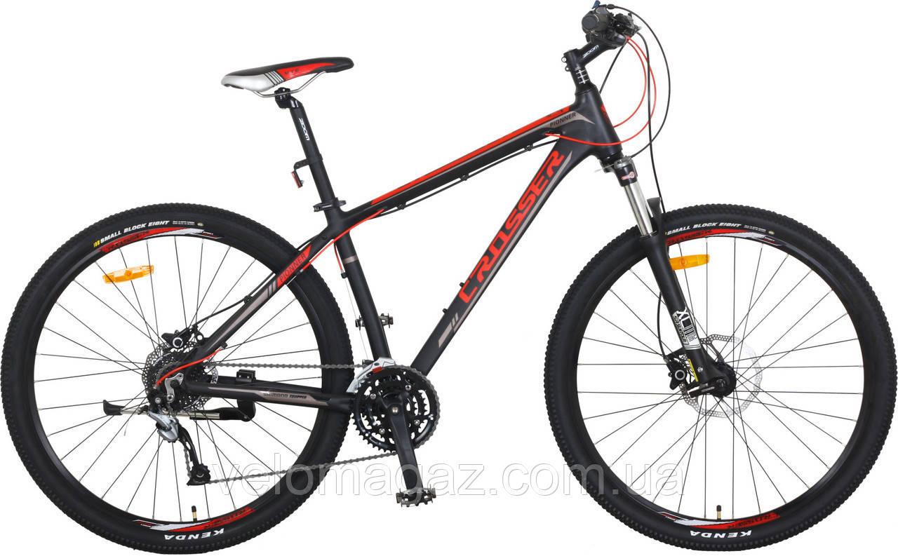 """Велосипед CROSSER Pionner*17 26"""" черно-красный алюминиевый горный гидравлика"""