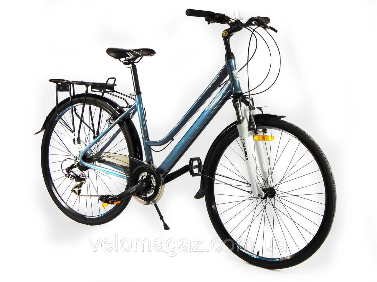 """Велосипед Crosser City Life Lady 28"""" серый горный женский алюминиевый"""