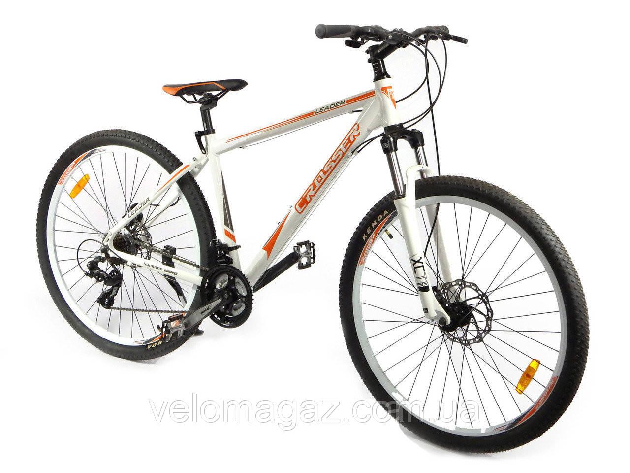 """Велосипед Crosser Leader*19 29"""" бело-оранжевый горный алюминиевый"""