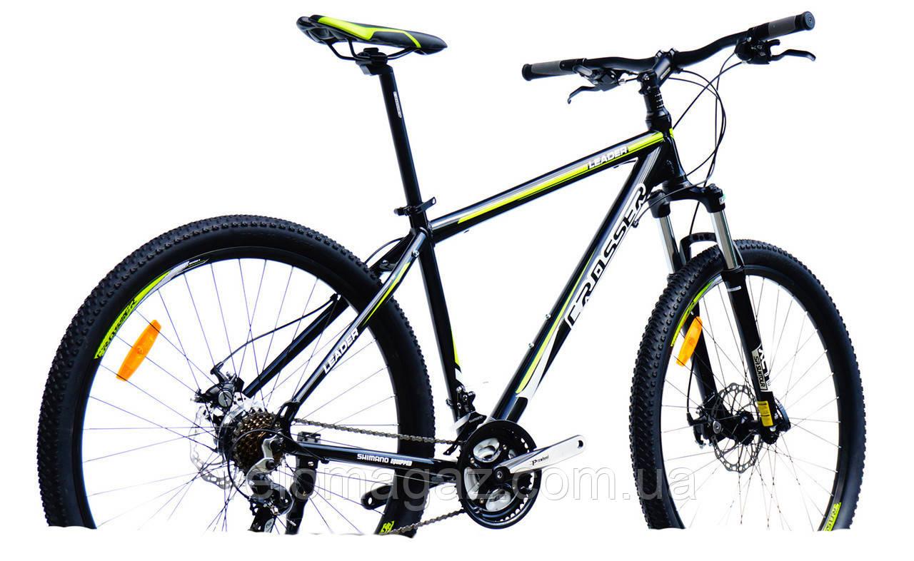 """Велосипед Crosser Leader*19 29"""" черно-зеленый горный алюминиевый"""