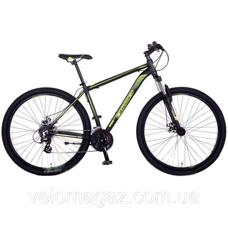 """Велосипед горный Crosser Legend-1*21 29"""" черно-салатовый алюминиевый"""