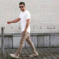 Хлопковые бежевые зауженные брюки