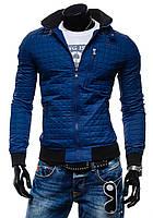 Демисезонная мужская синяя куртка без капюшона