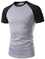 Мужская хлопковая серая футболка с черными рукавами