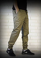 Хлопковые хаки брюки джоггеры
