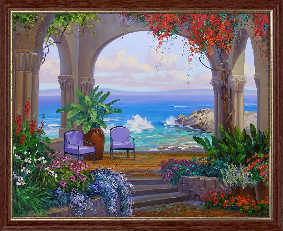 Репродукция  современной картины  «В раю» 28 х 35 см