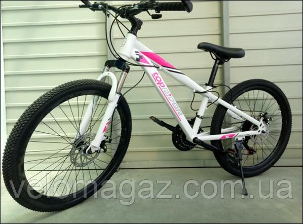 """Стильный подростковый велосипед TopRider 814 24"""" бело-малиновый"""