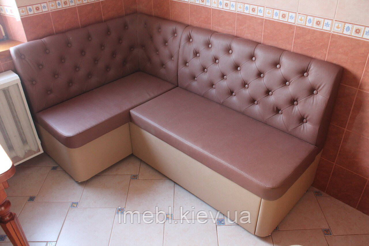 Мягкий уголок с местом для сна на кухню (Розово-бежевый)
