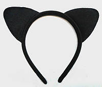 Карнавальные уши кота, кошки  черные  на обруче