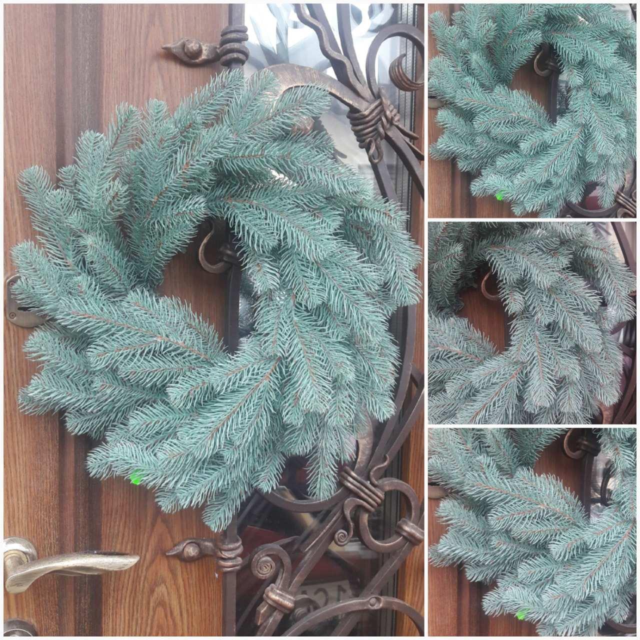 Рождественский веночек из веточек ели, цвет - голубой, декор, 40-45 см., 290/260 (цена за 1 шт. + 30 гр.)