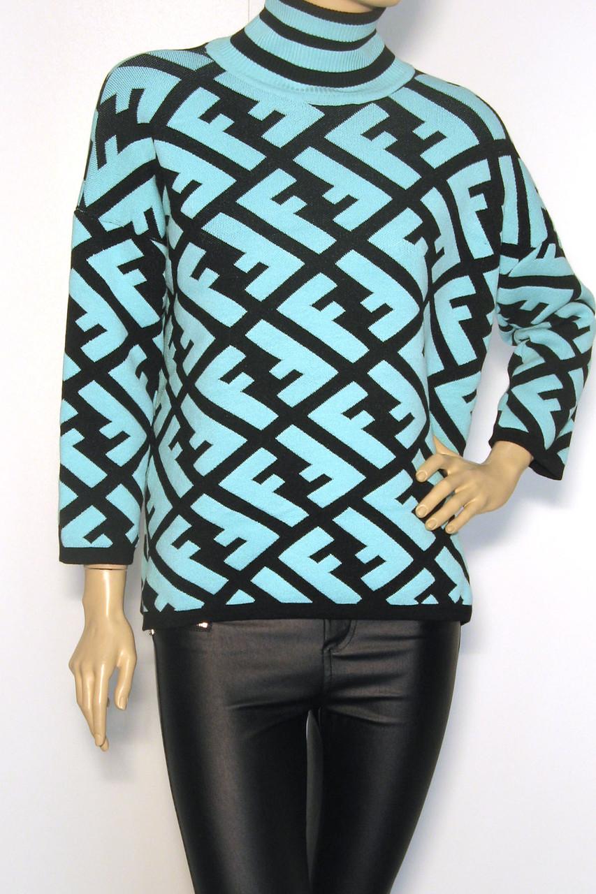 Теплий жіночий светр гольф Fendi