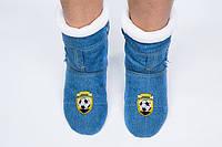 Тапочки джинсовые на флисе Спорт. Размер 18 - 45. Разные цвета
