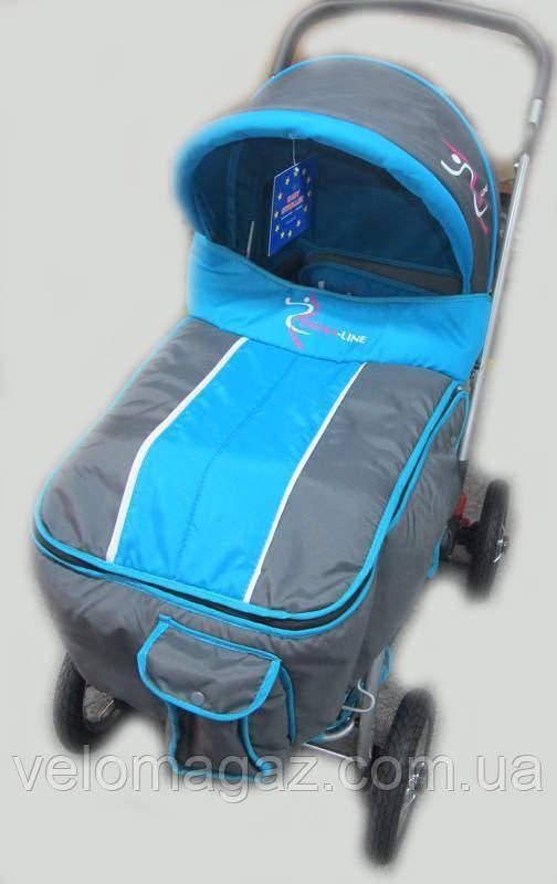 Прогулочная детская синяя коляска Sigma H-538AF (надувные колеса)