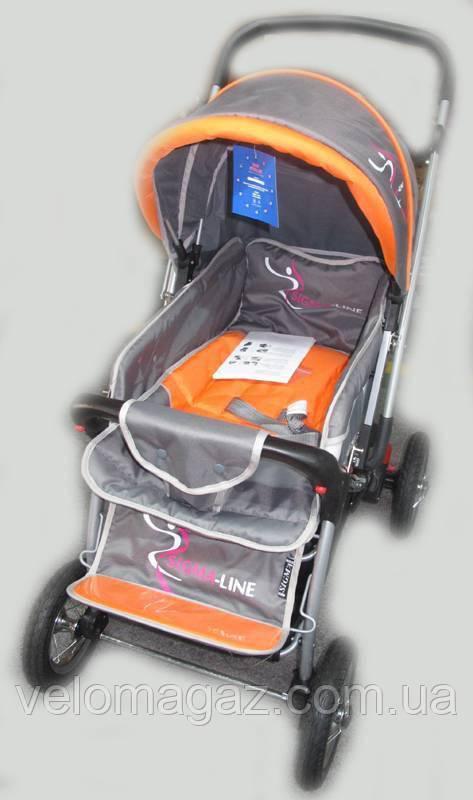 Прогулочная детская коляска Sigma H-538AF (надувные колеса) оранжевая