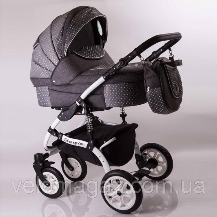 """Универсальная детская коляска 2 в 1 """"Sherry Lux"""" Gray (Лен)"""