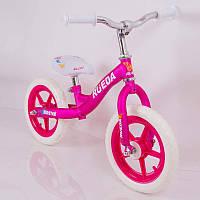 Детский розовый стильный беговел RUEDA B-216