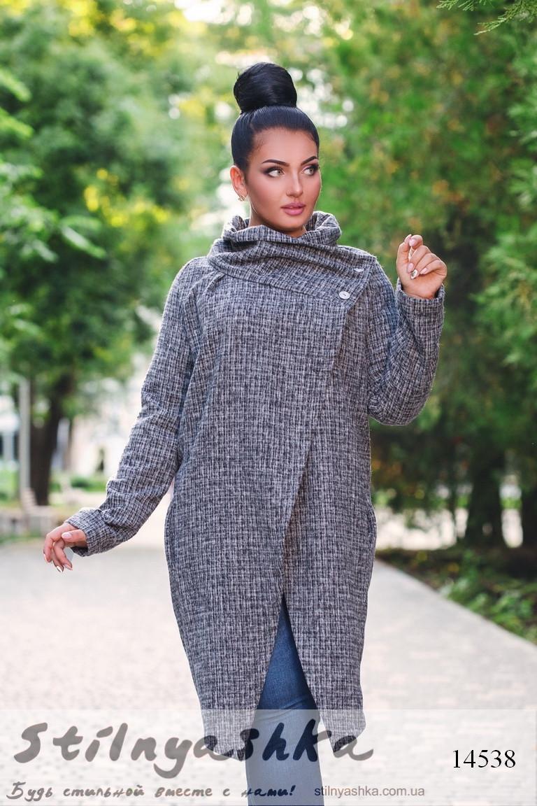 Пальто с асимметричными полами для полных, фото 1