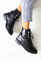 Осінні жіночі шкіряні черевики на шнурках (чорні), фото 1