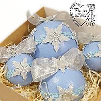 Набір новорічних куль (1 великий, 1 середній, 2 маленьких), блакитні