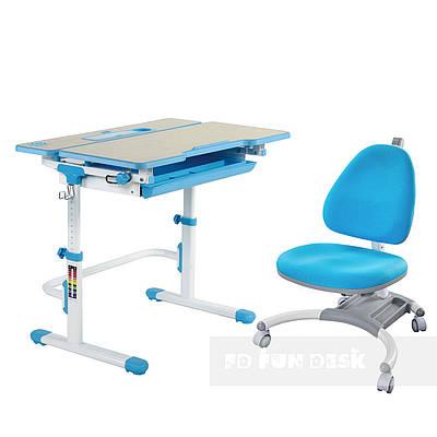Комплект растущая парта Lavoro L Blue + детское кресло для школьника SST4 Blue FunDesk