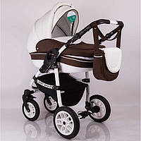 "Универсальная детская коляска 2 в 1 ""Baby Marlen"" White Brown, фото 1"