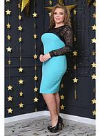 798fafaefcb Женское праздничное платье с гипюром Нимфа цвет морская волна   размер 48-72    большие