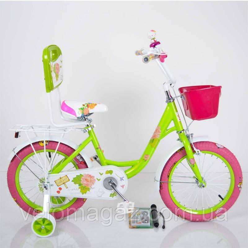 """Детский двухколесный велосипед для девочки 18"""" ROSES Green"""