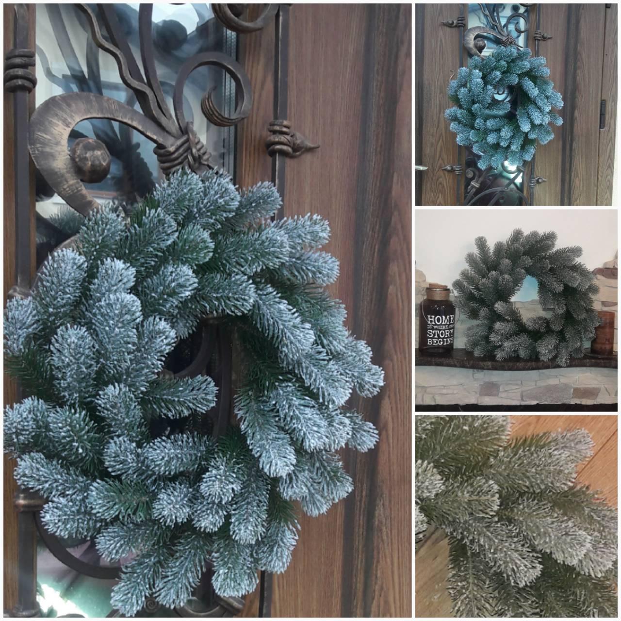 Пышный рождественский веночек, заснеженные веточки зеленой ели, 40-45 см., 290/260 (цена за 1 шт. + 30 гр)