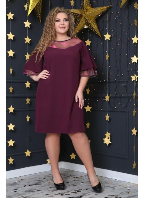 59b55aa2acef Я-Модна - купить Женское нежное платье Вуаль цвет бордо / размер 48-72 /  большие ...