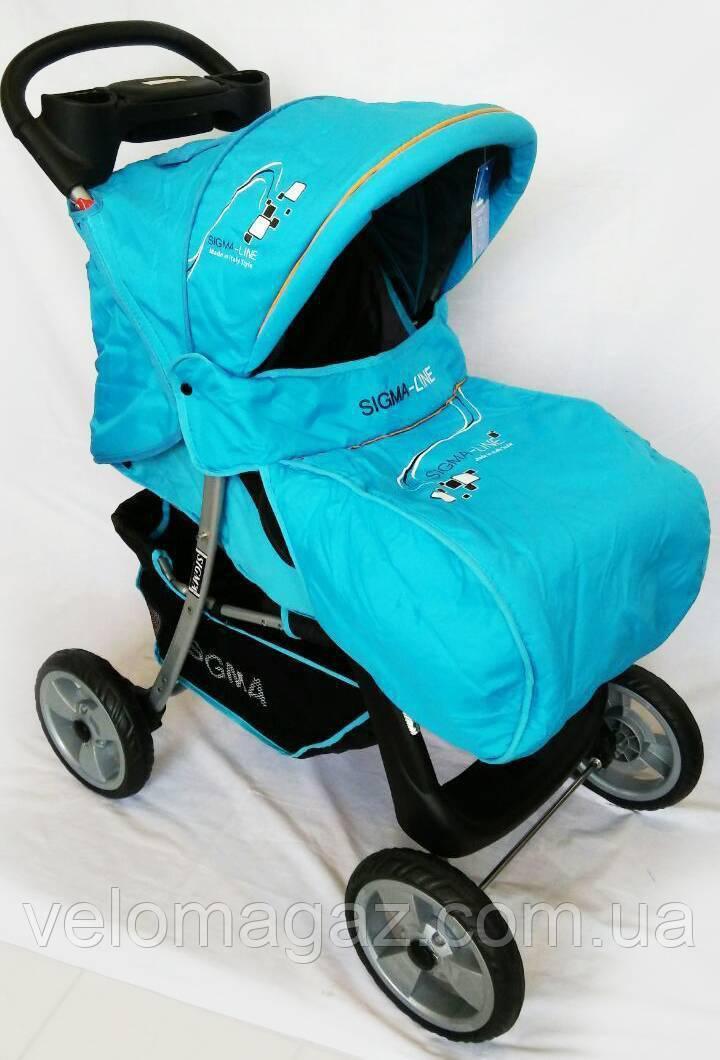 Дитяча коляска Sigma K-038F-2 прогулянкова з москітною сіткою блакитна