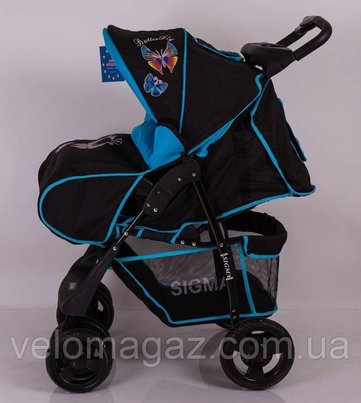 Детская коляска Sigma S-K-6F Black-blue прогулочная