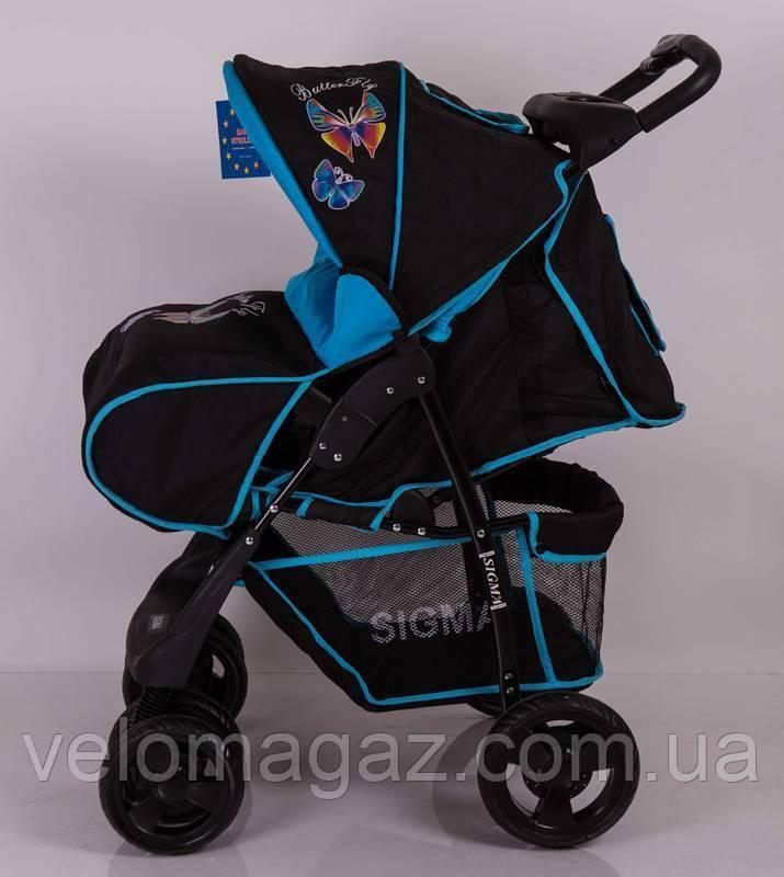 Дитяча коляска Sigma S-K-6F Black-blue прогулянкова