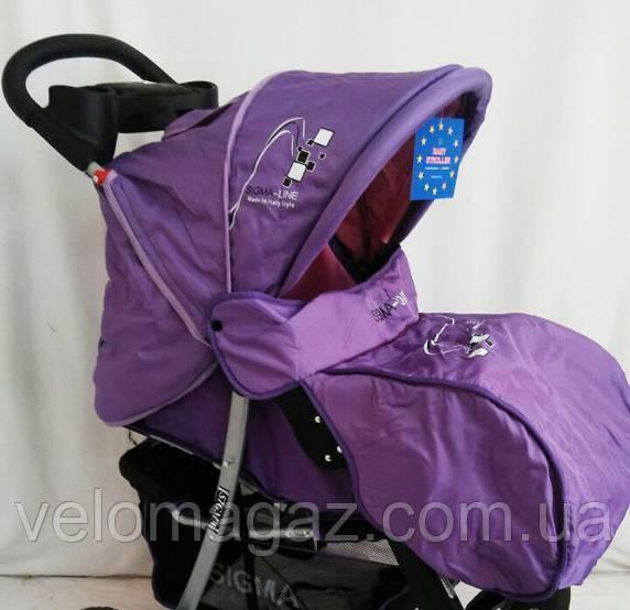 Дитяча коляска Sigma K-038F-2 прогулянкова з москітною сіткою фіолетова