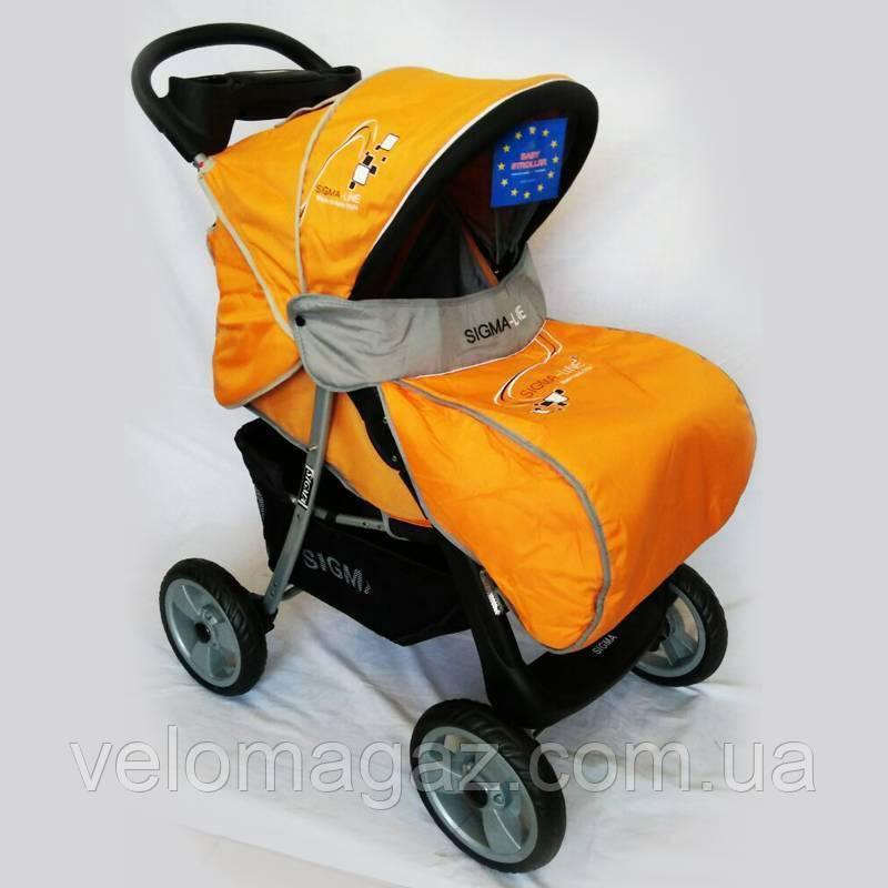 Детская коляска Sigma K-038F-2 прогулочная с москитной сеткой желтая