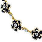 Короткое Колье под Золото Черные Цветы со Стразами, на Шнуре, Длина 45 см + 4 см. Бесплатная Доставка, фото 4