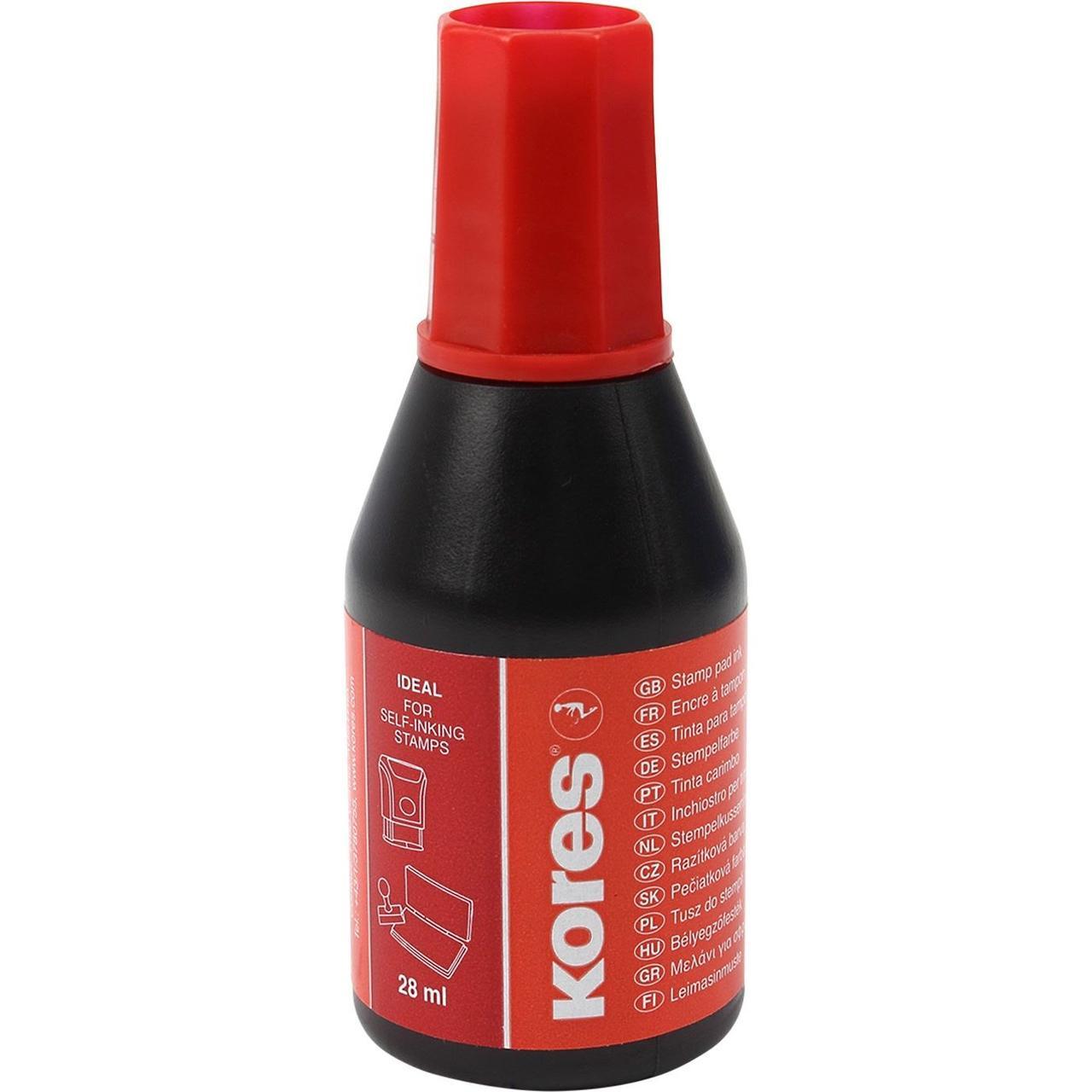 Краска штемпельная KORES, 28 мл, красная