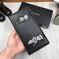 Кожаный кошелек Dolce & Gabbana черный клатч с декором кожа женский мужской бумажник Дольче Габбана реплика