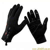 Зимние сенсорные перчатки утепленные, черные, флисовые (для сенсорных экранов телефонов)