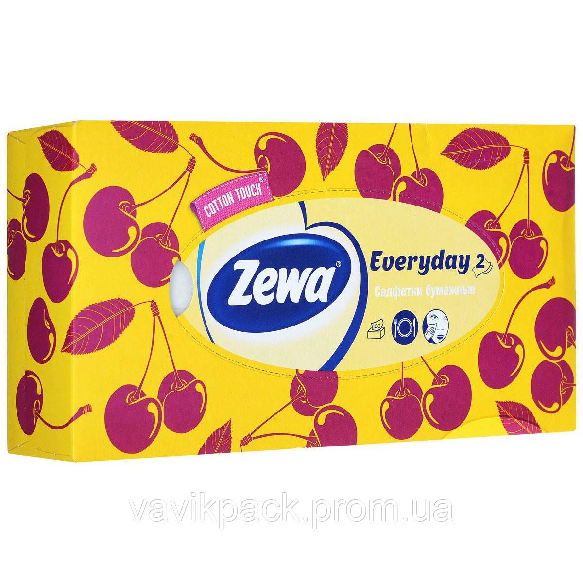 Платки носовые в коробке Zewa Everyday box двухслойные