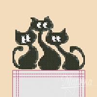 """Набор для вышивания крестиком на одежде """"Трио котов"""" НКВ-004"""