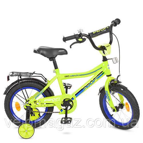 """Детский велосипед PROF1 Y14102 Top Grade 14"""" двухколесный, салатовый"""
