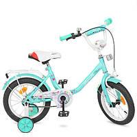 """Детский велосипед PROF1 Y1484 Flower 14"""" двухколесный, мята"""