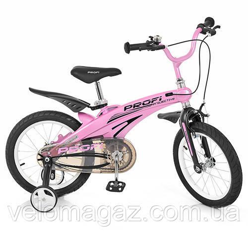 """Детский велосипед PROF1 LMG16122 16"""" магниевая рама, голубой"""