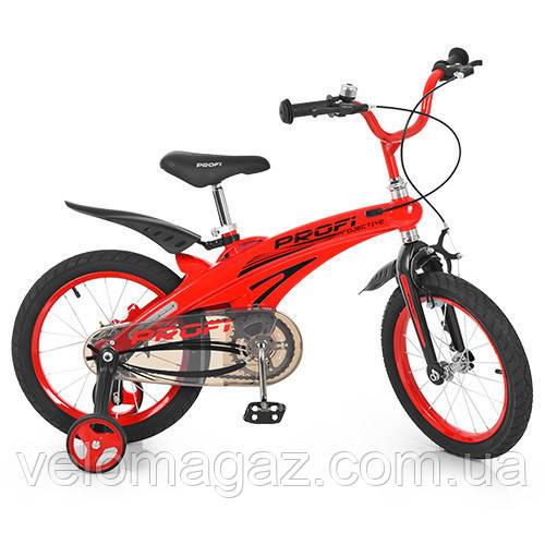 """Детский велосипед PROF1 LMG16123 16"""" магниевая рама, красный"""