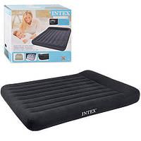 Велюровая двухспальная кровать-матрас с подголовником, 203*152*30 см, INTEX 66781 с эл.насосом, фото 1