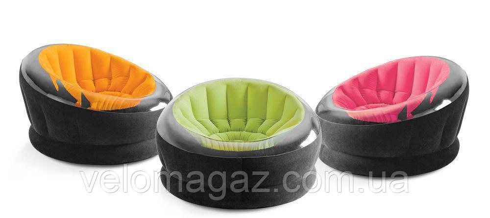Надувне велюр-крісло Intex Empire Chair 68582 салатового кольору