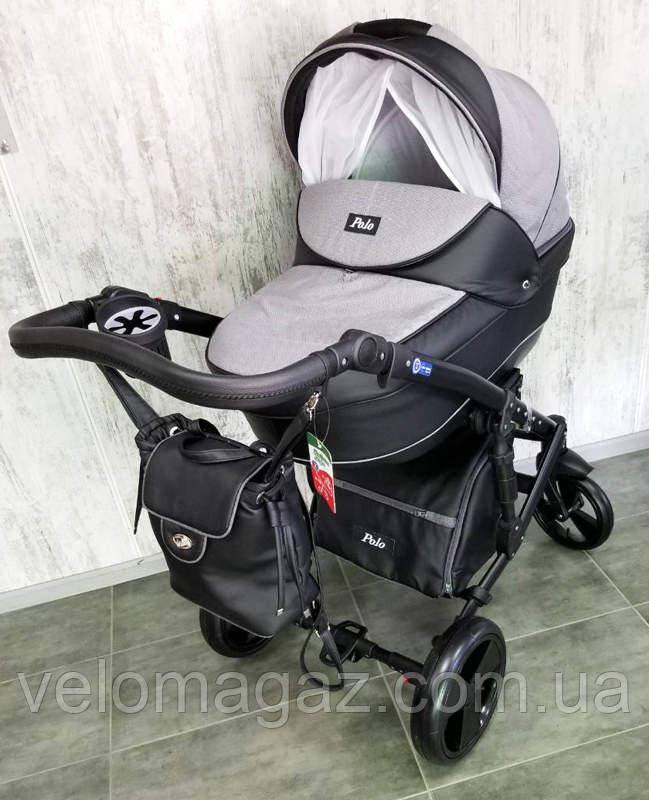 """Всесезонная детская коляска 2 в 1 """"POLO"""" черно-серая"""