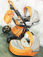 "Всесезонна дитяча коляска 2 в 1 ""POLO"" оранжево-сіра"
